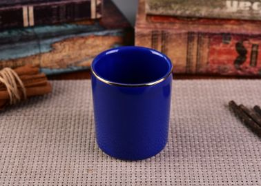 Gold Rim Painting Colorful Cylinder Ceramic Candle Jar For Weddings , 370ml